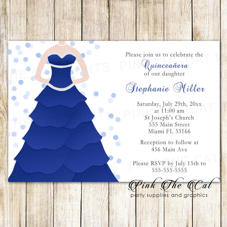 16a7fc109d0 Blue Quinceañera Invitation Dress Sweet 16 Invitation