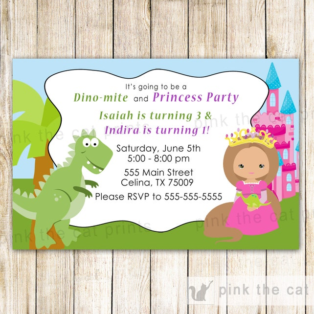 Dinosaur Invitation Princess Siblings Birthday T Rex Editable INSTANT DOWNLOAD