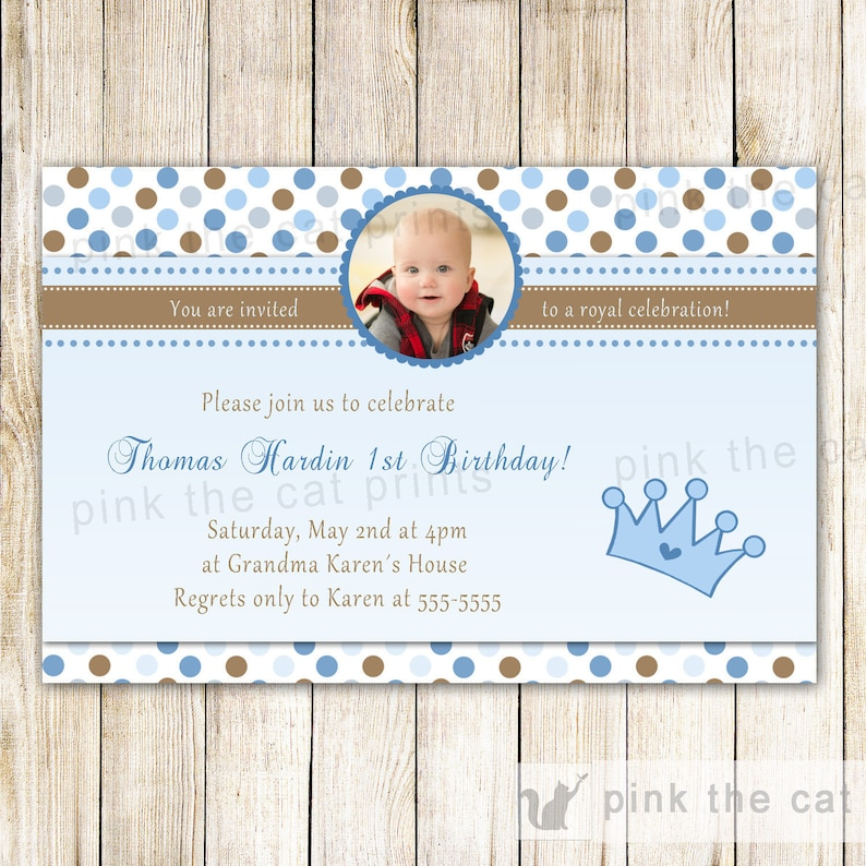 Little Prince Birthday Invitation Card - Custom Any Age Boy 1st Birthday  Party Invite Also For Baby Shower Printable Personalized Blue Brown
