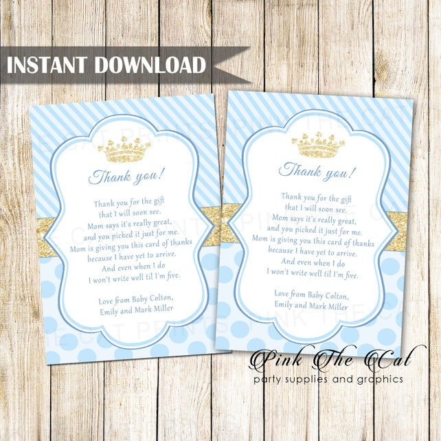 Prince Thank You Card Prince Thank You Note Gold Glitter Blue