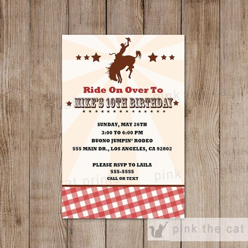 Cowboy Birthday Invitation Custom Kids Adult Invite