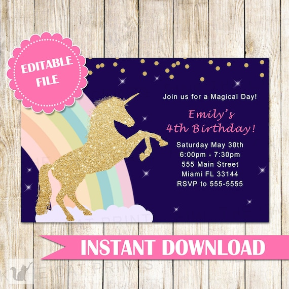 ON SALE Printable Unicorn Invitation Gold Glitter