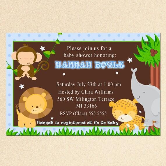 Selva Bebé Ducha Invitación Safari Animales Invitan Tarjeta Elefante Parte Invitar También Cumpleaños Fiesta Invitación Imprimible Personalizado