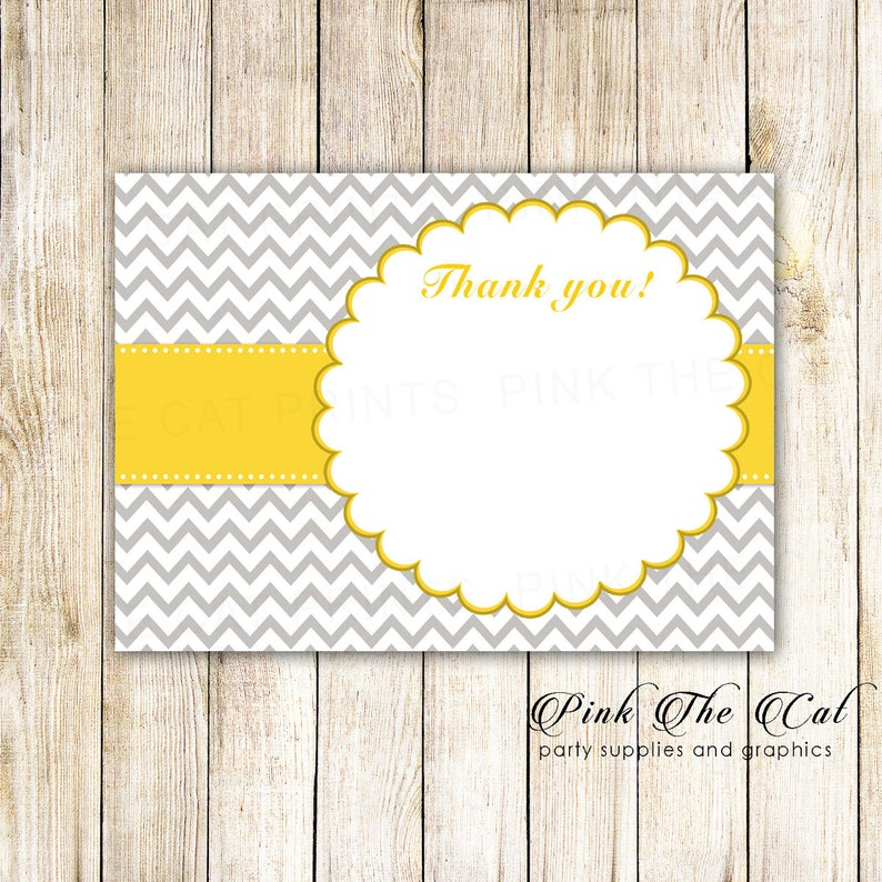 Zig Zag Birthday Blank Thank You Card Baby Shower Card Note DIY Party Item INSTANT DOWNLOAD Yellow Chevron Party Thank You Card