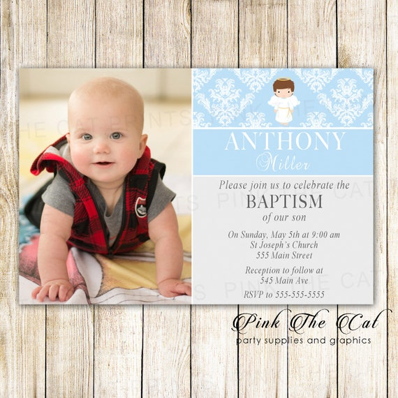 boy baptism invitation with angel printable christening baby etsy
