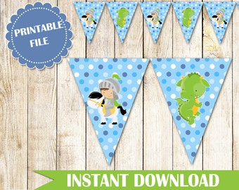 Knight Dragon Flag Banner - Knight Birthday Banner Party Decoration Knight Baby Shower Banner Cake Table Decoration Boy INSTANT DOWNLOAD