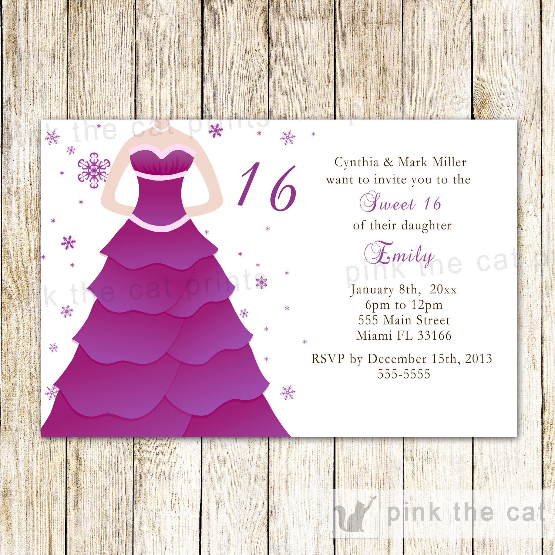 Chic Purple Dress Sweet 16 Invitations Snowflake | Etsy