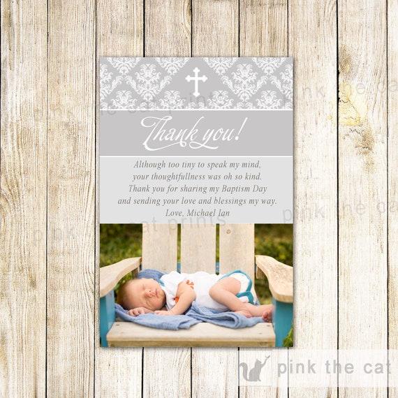 Boy Baptism Thank You Card Boy Christening Thank You Card Grey Etsy