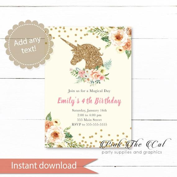 ON SALE Printable Unicorn Invitation, Glitter Unicorn Invitation, Gold  Blush Pink Digital Unicorn Invitation Template - Instant Download