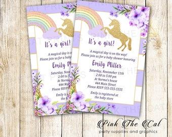 ON SALE Printable Unicorn Invitation Gold Glitter Unicorn Rainbow Invitation Lavender Girl Unicorn Baby Shower Invitation - Instant Download