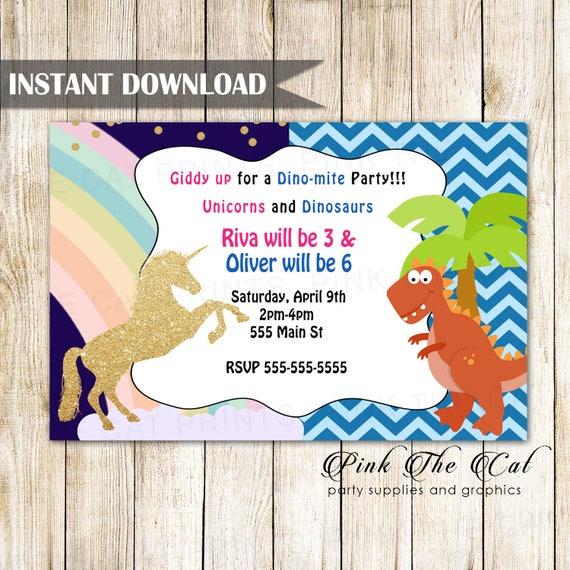Unicorn Dinosaur Invitation Dino Kids