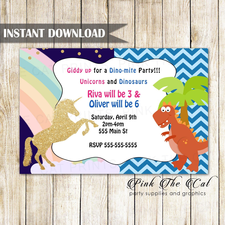 unicorn dinosaur invitation dino unicorn invitation kids