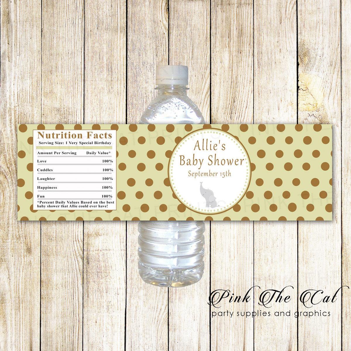 Elephant Water Bottle Labels Elephany Baby Shower Water Labels Brown Sage Green Shower Bottle Labels Printable Elephant Bottle Stickers
