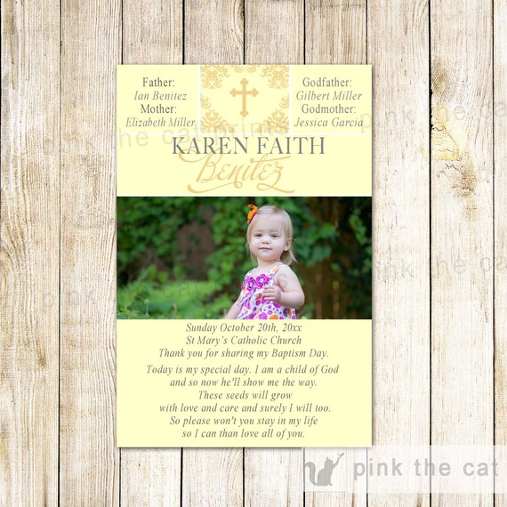 Girl Baptism Thank You Card Boy Christening Thank You Note Etsy