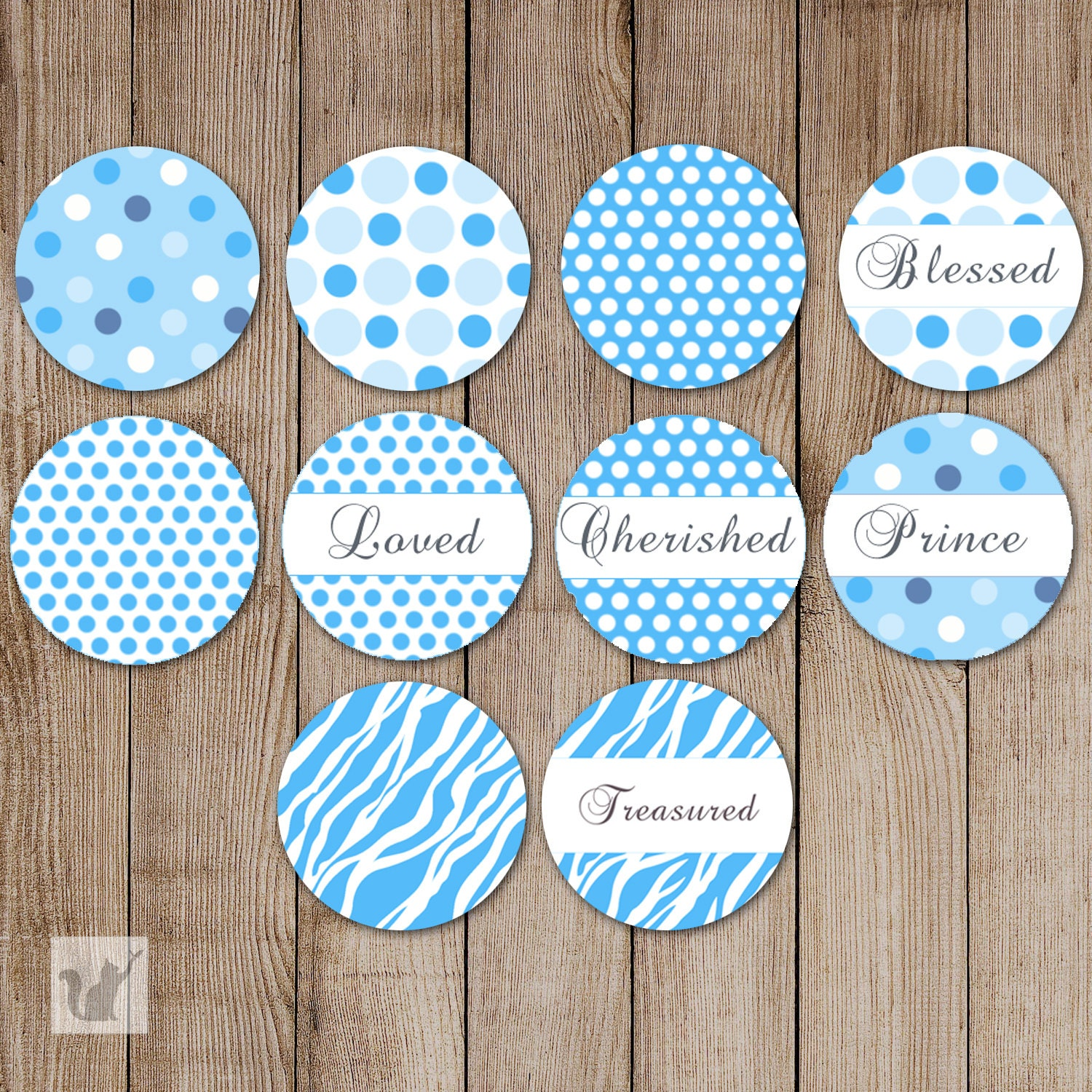Blue Polka Dots Candy Sticker Printable Candy Labels 0.75 inch | Etsy