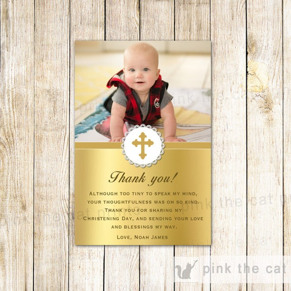 Gold Baptism Thank You Card Gold Thank You Note Photo Card Etsy