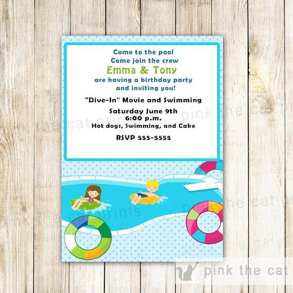 Tarjeta de invitacion de cumplea os de piscina piscina etsy - Cumpleanos en piscina ...