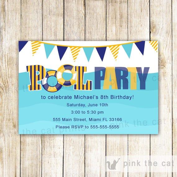 Parfait Piscine Party danniversaire Invitation piscine Party PL22