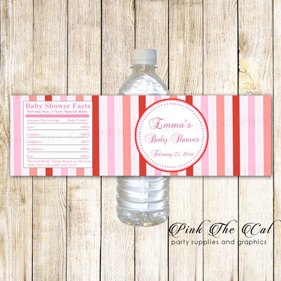 Pink Red Water Bottle Labels Girl Baby Shower Water Bottle Etsy