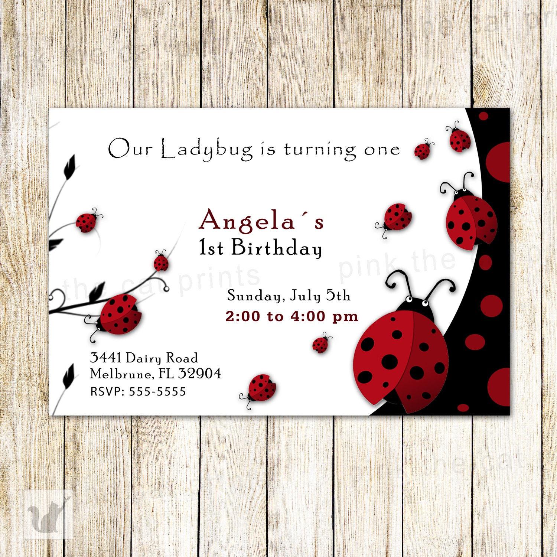 Ladybug Birthday Invitation 1st Birthday Party or Baby | Etsy