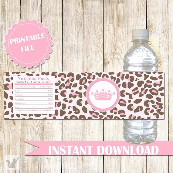 Princess Baby Shower Water Bottle Labels Leopard Princess Etsy