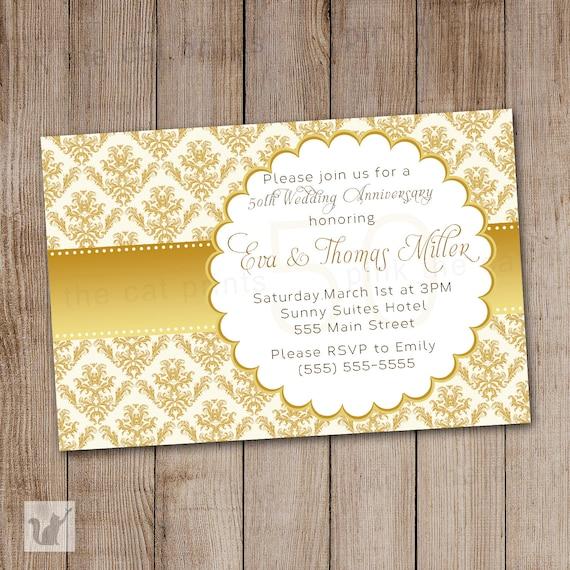 Tarjeta De Invitacion De Aniversario De Bodas De Oro 50 Invitación Fiesta Elegante Estilo Vintage Gold Damasco Cinta Imprimible Personalizada