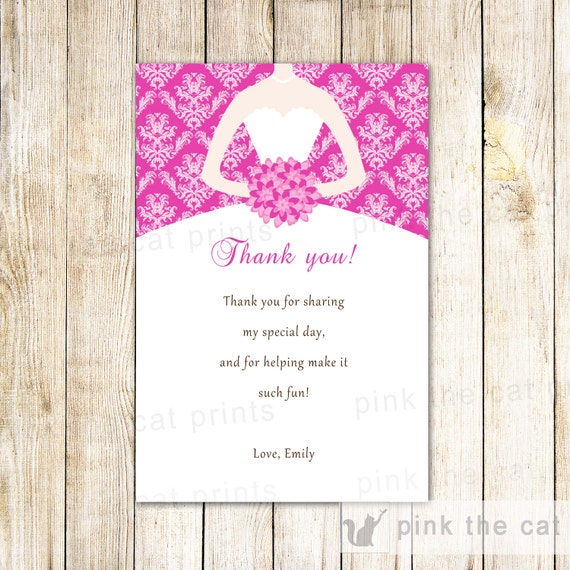 Bride dress bridal shower thank you card hot pink thank you etsy image 0 m4hsunfo