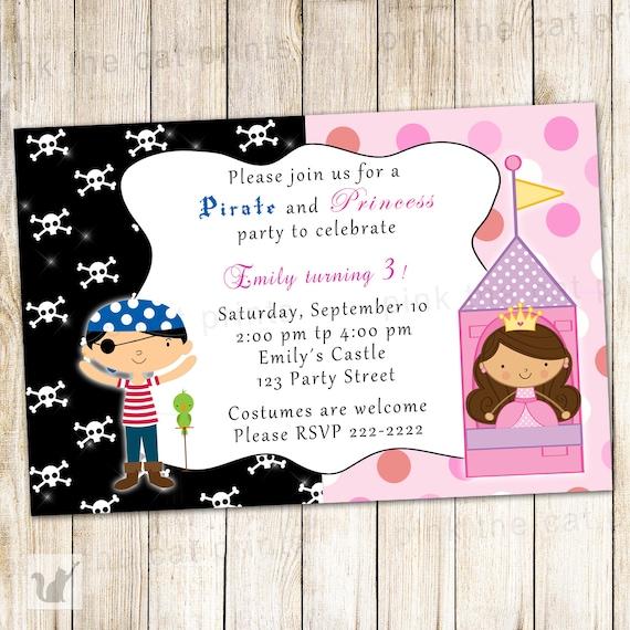 Tarjeta De Invitacion De Cumpleaños Princesa Niños Fiesta Invitación Imprimible Personalizado Del Pirata