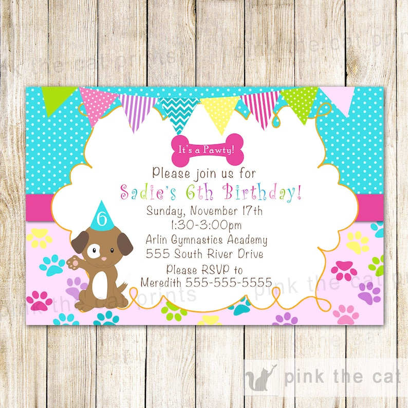 Puppy Birthday Invitation Girl Pawty Printable
