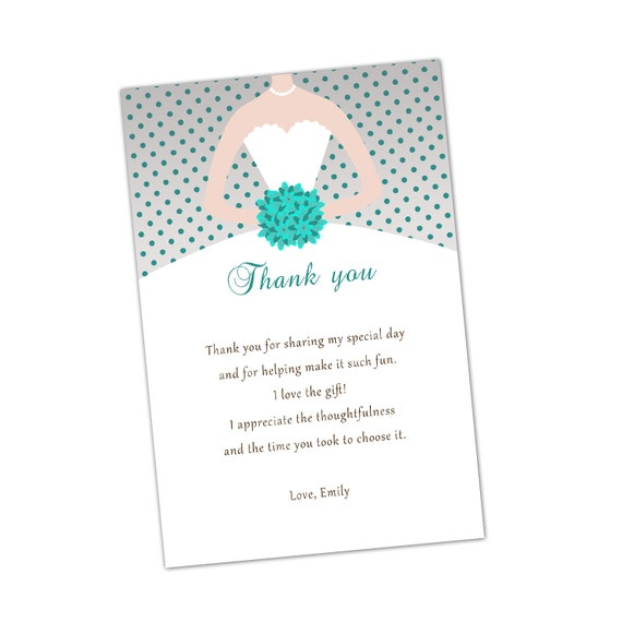 Grey Turquoise Bridal Shower Thank You Cards Bouquet Bride Etsy