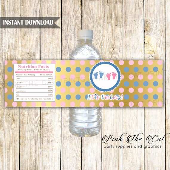 Girl Boy Twins Water Bottle Label Twins Baby Shower Bottle Label Gold Pink Blue Bottle Wrappers Its Twins Bottle Label Baby Instant Download