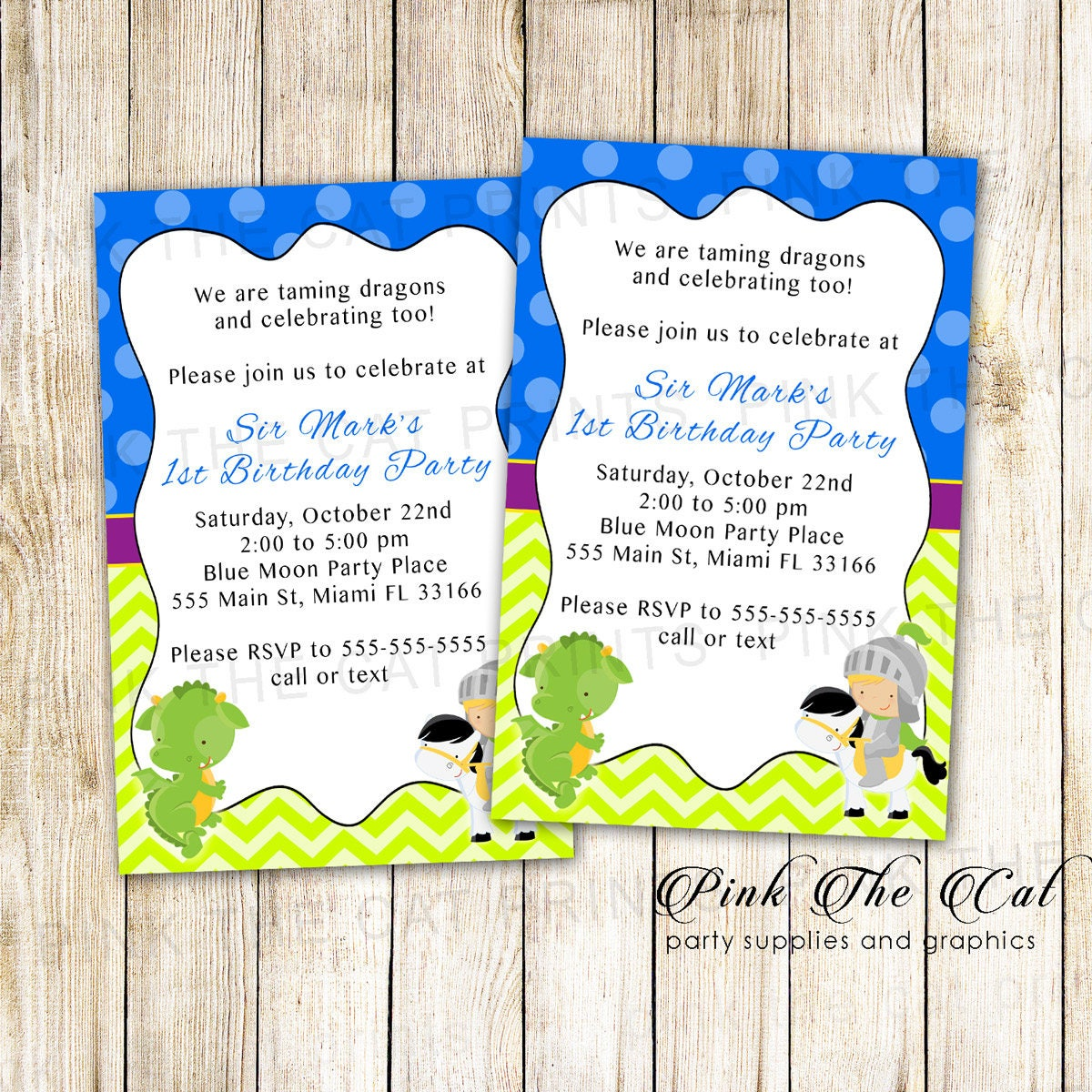 Knight Dragon Invitation Boy 1st Birthday Invitation Prince | Etsy