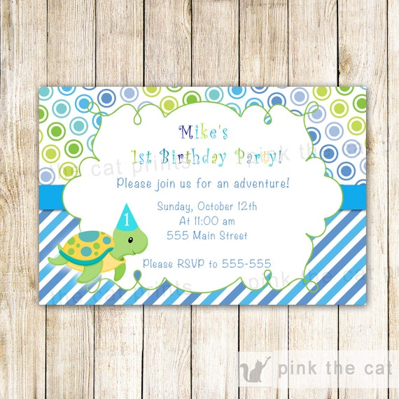 Turtle Birthday Invitation Card Printable Personalized Under