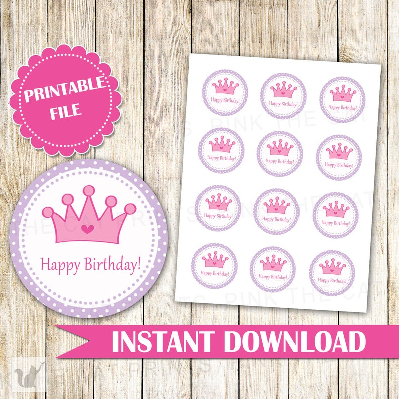 graphic regarding Free Printable Birthday Labels and Tags named Princess Labels Delighted Birthday Labels Princess Present Like Tags Princess Cake Pop Labels Purple Crimson Princess Stickers Quick Obtain