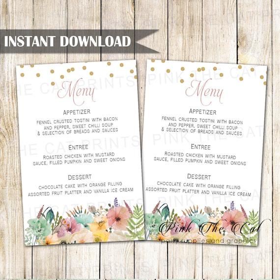 Confetti Floral Wedding Menu Card Bohemian Wedding Menu Etsy