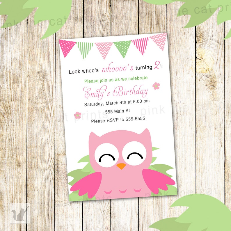 Owl Birthday Invitation Personalized Girl Party Invites Pink