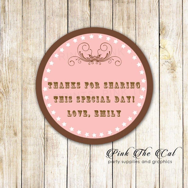 Birthday Thank You Sticker Blush Pink Brown Gift Favor Labels Bridal Shower Favors Labels Vintage Style Pink Brown Gift Favor Labels