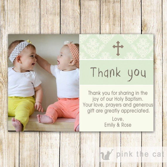 Twins Baptism Thank You Card Notes Girl Boy Mint Green Ivory Etsy