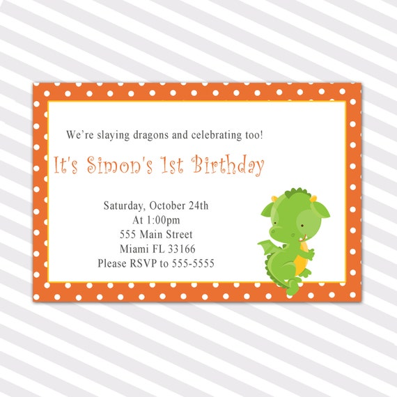Dragon Kids Birthday Invitations Custom Orange Polka Dots