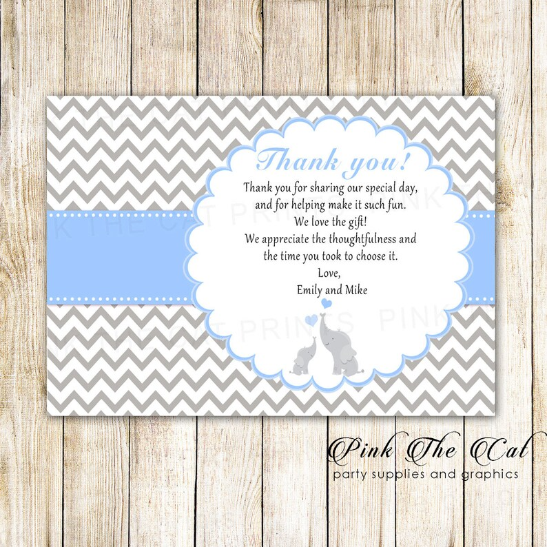 Blue Elephant Baby Shower Thank You Cards Mom Baby Elephant Etsy