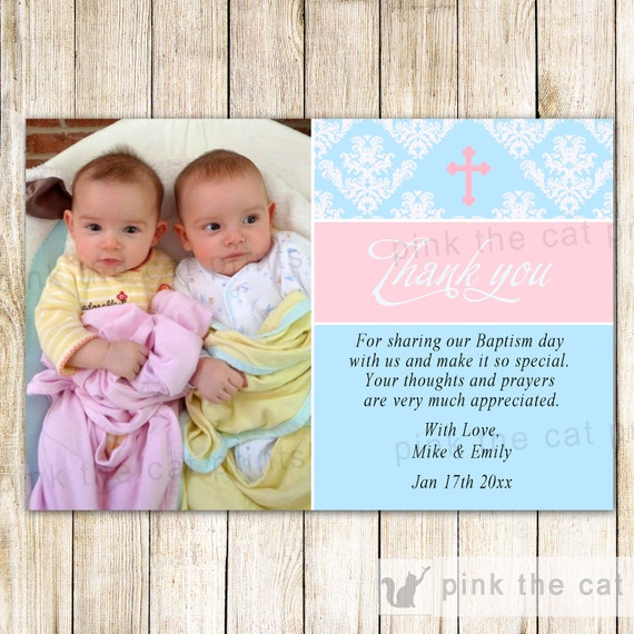 Twins Baptism Thank You Card Notes Girl Boy Pink Blue Etsy