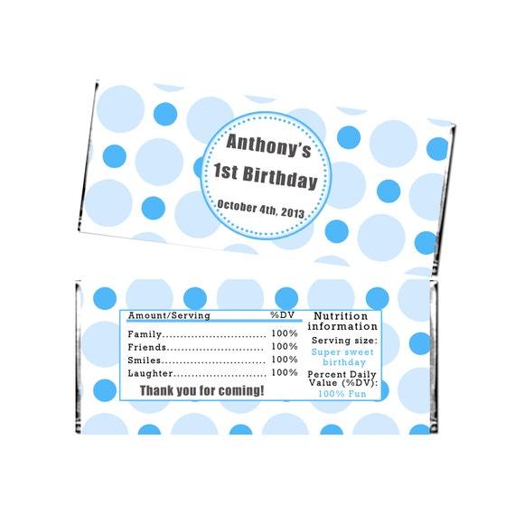 Personalizowane Polka Dots Niebieski Urodziny Party Candy Bar Etsy