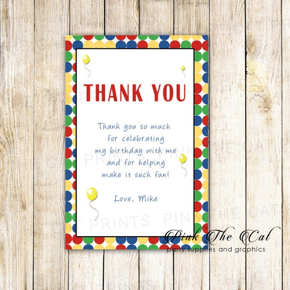 Kids Birthday Thank You Card Boy Birthday Thank You Note With Etsy