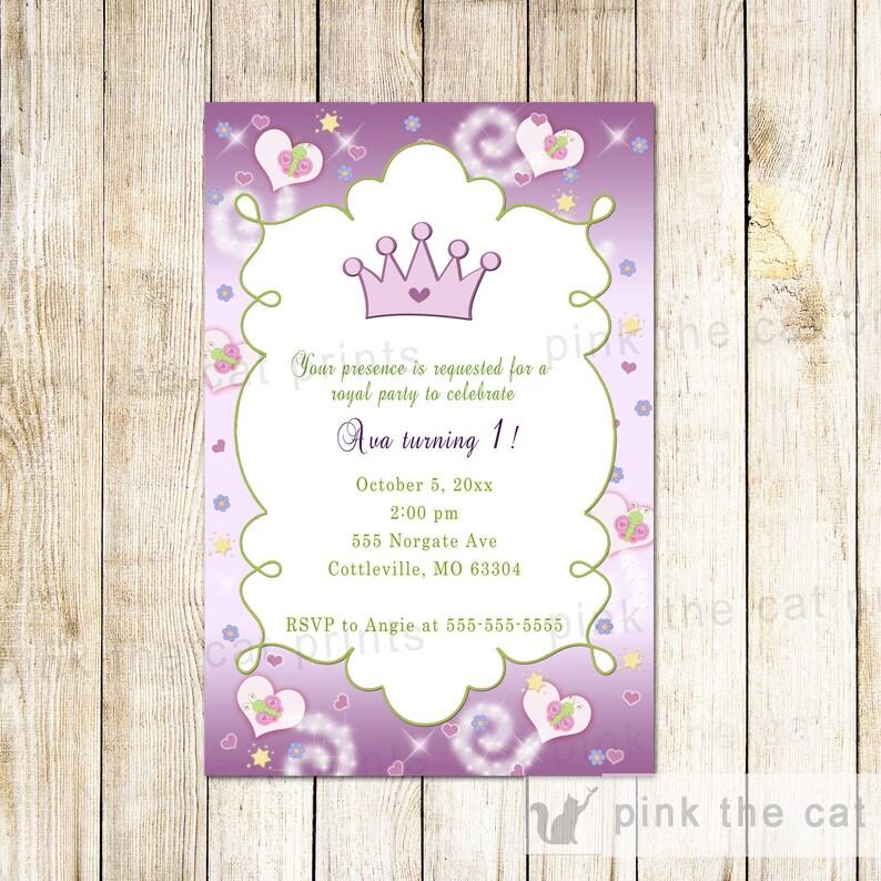 Princess Birthday Invitation Card Purple Green Butterfly