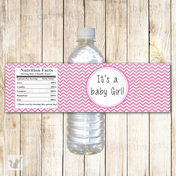 Instant Download Pink Chevron Its A Baby Girl Baby Shower Etsy