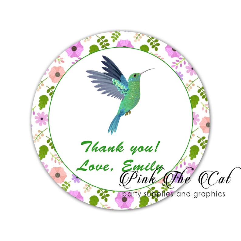 70 stickers hummingbird floral adult birthday bridal shower party label personalized with any text set of 70 printed
