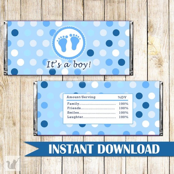 Its A Boy Candy Bar Wrapper Blue Polka Dots Baby Shower Candy Etsy