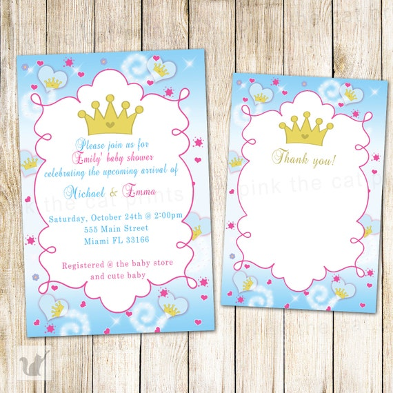 Prince Princess Invitation Twins Baby Shower Twins Girl Boy Etsy