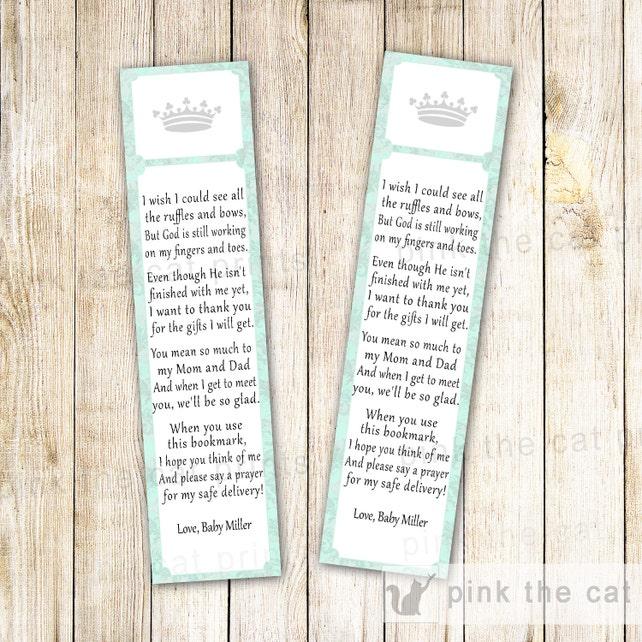Princess Bookmarks Prince Bookmarks Baby Shower Favor Ideas Prince