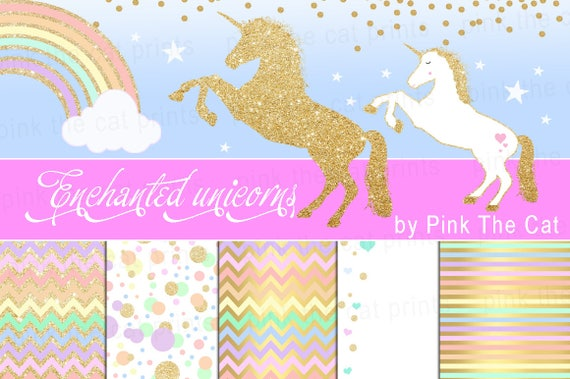 On Sale Unicorns And Background Papers Templates Unicorn Etsy